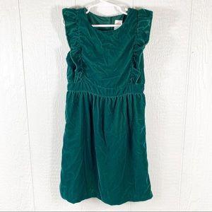 Girls Gymboree Green Velvet Dress Size 7